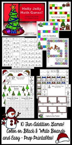 10 Easy prep holiday-themed addition games! Game boards in full color and black & white, plus three printables. Perfect for centers or small groups.  Practice facts to 12 and 18 using dice, and within 10 and 20 using fact cards.