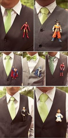 Buttonholes are a great way to add personality to wedding ensembles. And who says they have to be made of flowers? Not us when Star Wars and superheroes are around.