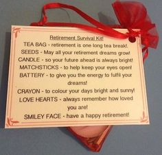 Retirement Survival Kit - Novelty Fun Gift Or Keepsake Leaving Work Present | eBay