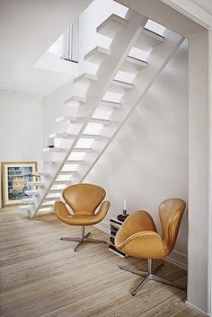 Sleek staircase and great chairs