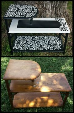 Hand Painted Refurbished Side table / end table /cornet table /accentable - before and after ..