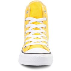 Converse Chuck Taylor All Star Hi Sneaker ($99) ❤ liked on Polyvore featuring shoes, sneakers, yellow high tops, hi tops, star shoes, converse shoes and star sneakers