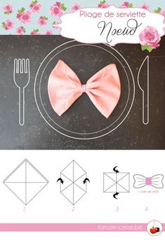 And hop a little knot napkin that folds to a # anniversary meal Paper Napkin Folding, Paper Napkins, Communion, Wedding Table, Girl Birthday, Knots, Origami, Diy And Crafts, Anniversary