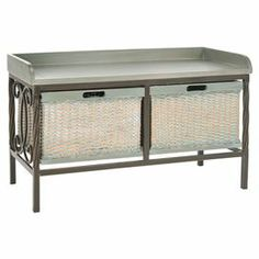 """Storage bench with a scrolling metal base and 2 woven baskets.    Product: Storage benchConstruction Material: Elm wood, wicker, metal and MDFColor: Grey and greenFeatures: Includes two woven basketsDimensions: 20"""" H x 33"""" W x 15.7"""" D"""