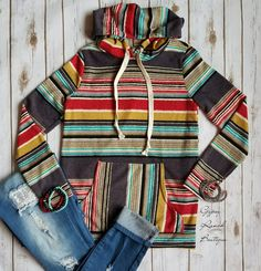 Serape Top hoodie Also in Plus Size Order here www.gypzranch.com