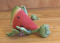 Primitive Patriotic Frog Doll Watermelon Pin by Skunkhollow