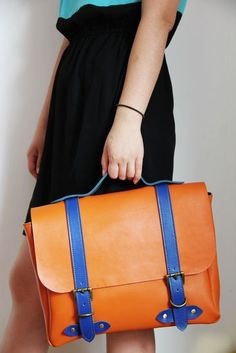 Handmade Genuine Leather Satchel / Briefcase / Handbag / Messenger Bag - Orange with Blue