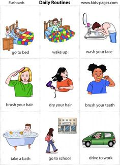 My daily routines: Mis rutinas diarias I get up at 7:00 a.m.................Me levanto a las 7 de la mañana. I have a shower............