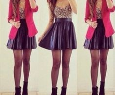 Pix For > Red Skater Skirt Outfits Fashion Mode, Love Fashion, Womens Fashion, Fashion Trends, Fashion Skirts, Looks Style, Looks Cool, My Style, Pink Style