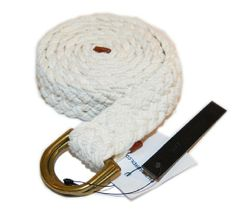 Polo Ralph Lauren Mens Woven Rope Braid Nautical Cotton D-Ring Belt White Large