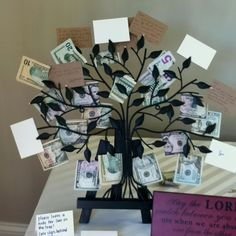 """money tree"" with personal notes for going away party"