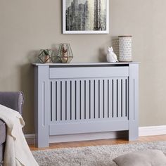 Brambly Cottage This Radiator Cover is perfect for your home. Made from MDF, wood this radiator cover will add eye-catching style to your home but also provide a practical solution to cover your radiators. Size: H x W x D, Radiator Colour: Grey Modern Radiator Cover, Wall Radiators, Best Radiators, Interior Design Living Room, Living Room Designs, Living Room Decor, Painted Radiator, Radiator Shelf, Closets