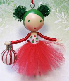 Clothespin Doll Christmas Tree Ornament 2012 - Red, Green and White Polkadot Sparkle -