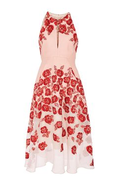 Raised floral fil coupe modified halter dress by Lela Rose