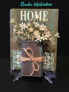 Tin Can Crafts, Diy Arts And Crafts, Wood Crafts, Making Signs On Wood, How To Make Signs, Painted Tin Cans, My Home Design, Pallet Painting, Country Paintings