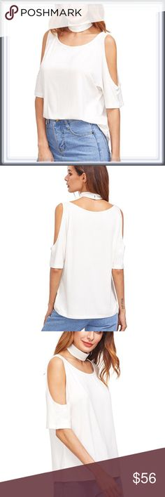 🆕 White Cold Shoulder Choker Top ➖SIZE: Small, Medium, Large ➖STYLE: A white cold Shoulder with an optional separate choker piece making it a choker top.   ❌NO TRADE   # off the shoulder Tops Blouses