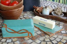 Covered Butter Dish in Turquoise and Rust Made to by pagepottery, 30.00