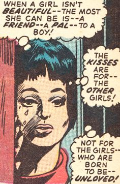 When a girl isn't beautiful. Bd Comics, Comics Girls, Comic Books Art, Comic Art, Book Art, Unloved Quotes, Vintage Pop Art, Vintage Romance, Comic Book Panels