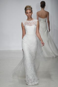 Christos Spring 2013 - illusion neckline & tailored fit with small train
