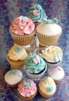 Pink and blue christening cupcake tower by Star Bakery (Liana), via Flickr