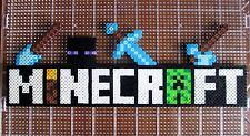 Handmade Minecraft Logo Perler Bead 8 Bit Pixel Art