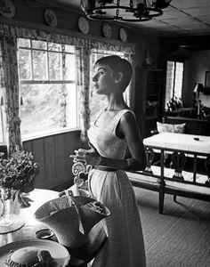 Audrey Hepburn pictured at her home, Villa Bethiana, in Bürgenstock, Switzerland, 1954.