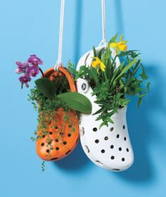 Garden Inspiration & Ideas {Over 50 Pots, Planters, and Containers Finally something I can do with old crocs!would be cute hanging on potting shed/tableFinally something I can do with old crocs!would be cute hanging on potting shed/table