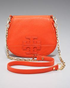 Mini Logo Clutch  by Tory Burch at Bergdorf Goodman.Love bright colors and chain bags, my weakness!