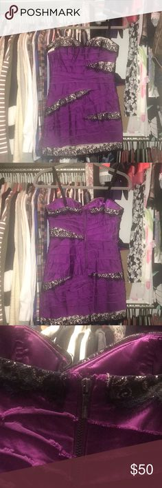 BEBE Purple satin bodycon mini dress XS Bright purple BEBE. Tight sexy short dress. With black/nude accents. Worn once in Vegas. Great condition. Short and sexy. Back zipper. Super slimming. Slight stretch. Size XS bebe Dresses Mini