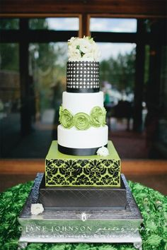 Modern Green, black and white wedding cake with rosettes, damask, dots, and fresh flowers, by Sweet and Swanky Cakes in Bend, OR