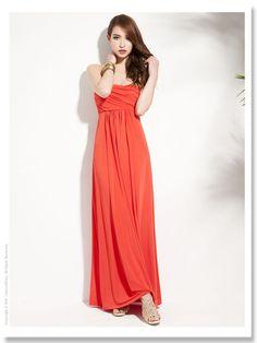 Women's Trendy Red Off The Shoulder Solid Floor-Length Maxi Dress Long Dress