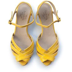 Aya peep toe yellow leather handmade flats | Shoes | Pinterest ...