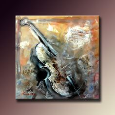 Handmade Modern Abstract Musical Oil Paintings Violin Home Decor Wall Paintings Unique Canvas Wall Art Artwork Unframed 75x75cm