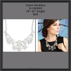 Beautiful Grace Necklace by Just Jewelry So stunning and elegant. Perfect for that summer party or wedding. Just Jewelry has everything you need for Spring/Summer. All under $40! www.justjewelry.com/heathertownsend
