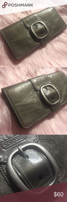 COACH Gunmetal Grey Patent Clutch Wallet Used with love. Only issue is some marks to the buckle and black transfer to the inside. Unseen when carried. See photos. Inside is divided with card slots too. Tattersall lining Coach Bags Clutches & Wristlets