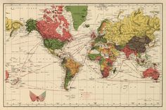 Vintage  world map print 1888- print by AncientShades, $45.00