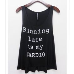 Running late is my cardio tank top Material: 95% rayon, 5% spandex. Made in USA. Available in small, medium and large. Great quality material. Please comment your size and I can make you a listing. Runs true to size, loose fit. PRICE HAS BEEN REDUCED. Grab them before they are gone. Ask me for bundling 2 FOR $40.  Made in . Five  rated Pink Peplum Boutique Tops Tank Tops