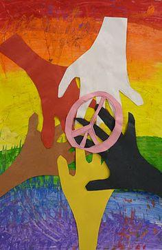 art idea for Martin Luther King Jr. handprint peace dove idea to celebrate Martin Luther King Jr. Day via Inner Child Fun class mural for Martin Luther King Jr. Day via smART Class heart. Peace Crafts, Harmony Day, January Art, February, Art For Kids, Crafts For Kids, Peace Art, Rainbow Background, Hippie Art