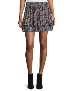 Tiered Floral Silk Skirt, Black/Multicolor, Black Multi - Derek Lam 10 Crosby