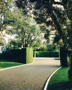Driveway with box hedge. This is a good example of the hardscape (non-plant landscape elements) working as hard as the landscape towards an overall effect of calm. Gravel Driveway, Driveway Entrance, Driveway Landscaping, Driveway Ideas, Landscaping Ideas, Landscaping Software, Pebble Driveway, Stone Driveway, House Entrance