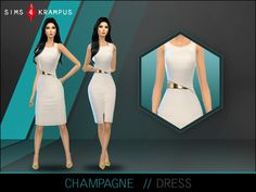 The Sims Resource: Champagne Dress by SIms4 Krampus • Sims 4 Downloads