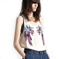 Fashion Womens Summer Sleeveless Goldfish Printed Pattern Blouse Crew Neck Chiffon Shirt Tank Top  aliexpress