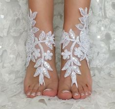 4d56432e2f6 white or ivory lace barefoot sandals wedding barefoot Flexible wrist ...