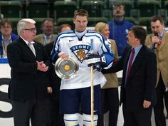 Raimo Helminen's ceremony for playing in his world record-breaking 321st national team game in 2002. This was the same year he participated in a record-breaking 6th Olympic hockey tournament.