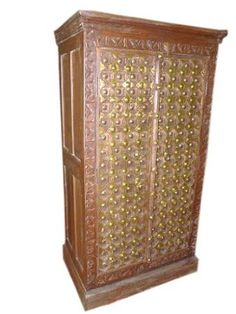 Amazon.com: Hand Carved Teak Wood Cabinet Brass Old Door Armoire Furniture From India 60x30: Home & Kitchen