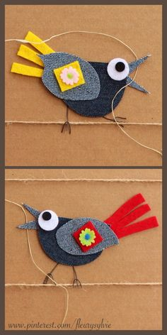 - Amazing French artist who makes collages from recycled jeans and other bits of fabric and paper. The compositions are simple and completely charming! Arte Punch, Denim Art, Jean Crafts, Denim Ideas, Bird Crafts, Recycle Jeans, Art N Craft, Sewing Appliques, Craft Activities For Kids