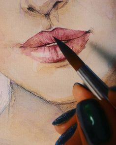 В последнее время губы люблю рисовать особенно #губы #акварель #рисунок #живопись Love #painting #lips #drawing #watercolor