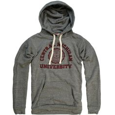 Established in 1892, Central Michigan University in Mount Pleasant has over 20,000 students.  Fight, Central, down the field,  Fight for victory!  Fight, fellows, never yield,  We're with you, oh varsity!  Rah! Rah! Rah!    Tri-blend fleece hoodie (50/25/25). Designed in Michigan by The Mitten State. Made in USA. Officially licensed.