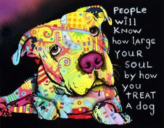 Print of FIRU - a pit bull that was abused by his owner  - is the model for this print