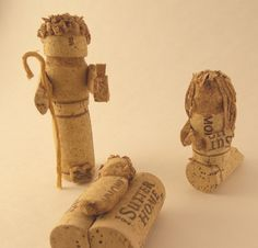 Three Piece Nativity Set Hand Carved of Wine Corks